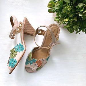 Anthropologie | Miss Albright Floral Sandal Pumps